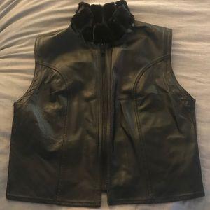 Neiman Marcus Genuine Leather and Mink Fur Vest